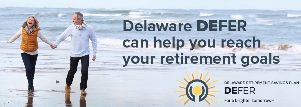 Delaware DEFER can help you reach your retirement goals. Retired couple walking outside at the beach. Delaware DEFER logo